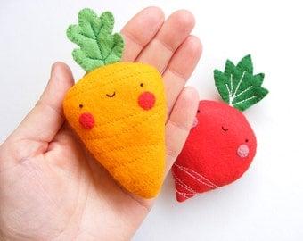 PDF pattern - Carrot & radish earphones holders - cute veggies, easy sewing pattern, felt vegetables