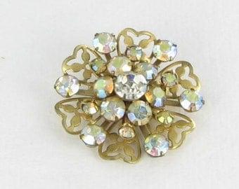 Aurora Borealis AB rhinestone brooch pin flower riveted back 1950s
