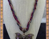 Purple Beaded Brass Butterfly Necklace