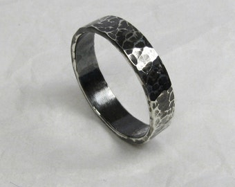 Black Silver Ring - 5 mm wide, Oxidized Fine Silver Ring, Hammered Rustic Black Silver Ring,  Distressed Silver Ring