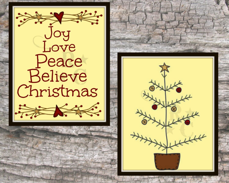Primitive Christmas Wall Decor : Christmas home wall art print primitive typography