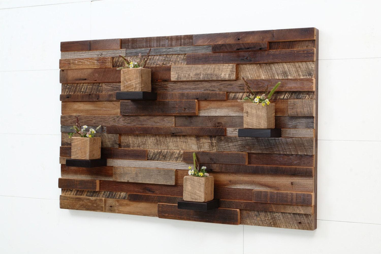 Reclaimed Wood Wall Art 37x24x5 Large Art - Reclaimed Wood Floating Shelves WB Designs