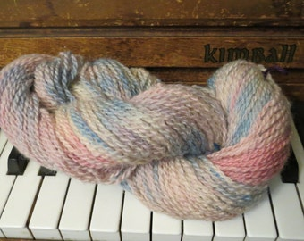 Pastel Blue, Pink and Purple Hand-dyed 100% Border Leicester Sheep Yarn. 200 yd skeins. Worsted Weight.