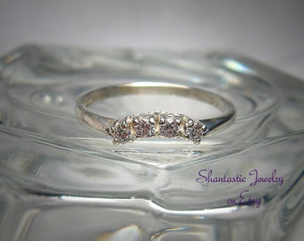 Warm White Round Brilliant Cut Cubic Zirconia Sterling Silver Wedding or Anniversary Ring Made to Order