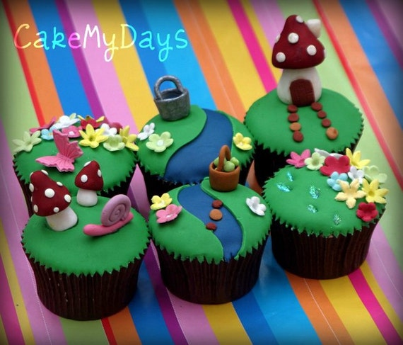 Edible Fairy Garden cupcake/cake decorations inc by SugarWow