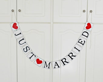 FREE SHIPPING, Just Married banner, Bridal shower banner, Wedding banner, Engagement party decoration, Wedding signs, Photo prop, Red hearts