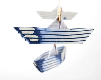 Baby boy nursery decor, blue and white fabric, tie dye, nautical nursery mobile, paper boat, origami mobile, baby shower gift, children gift