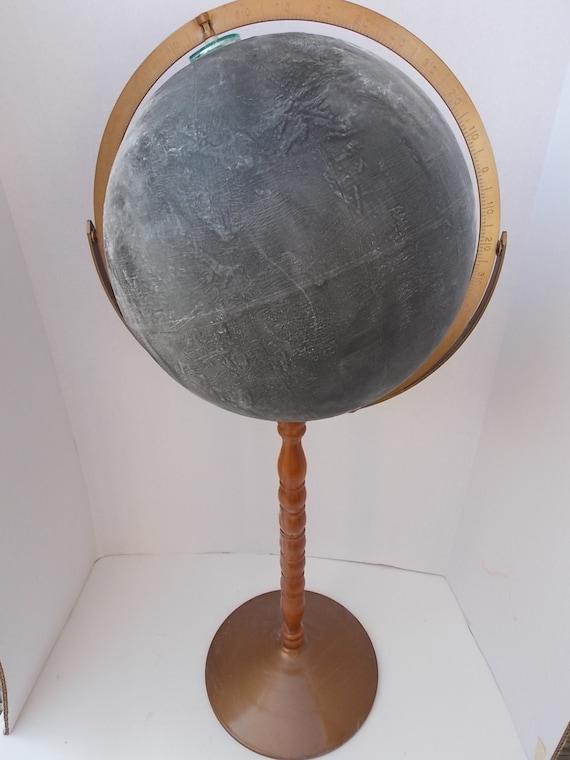 "Vintage Student Office  12"" Chalk Board Globe On Pedestal Stand"