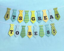 Great to be 8 Boy Tie Banner Printable: LDS Baptism Party Decoration Download -- Instant Download Bunting