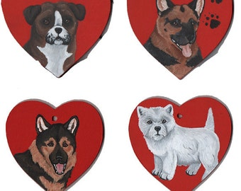 Dog Wooden Hearts - Boxer, German Shepherd Dog and West Highland White Terrier - SALE