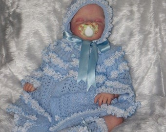 Hand knitted baby lace matinee set 0 - 3 months - baby cardigan - baby booties - baby bonnet - baby clothes - baby knitwear