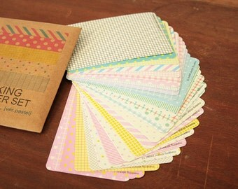 Masking Sticker Set - 27 Sheets, Multicolour Patterns, Pastel Version