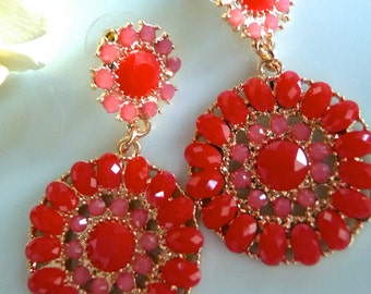 Ruby Red and Baby Pink Cranberry Teardrop Drop Earrings. Christmas Gifts For Her.  Gifts For Her.