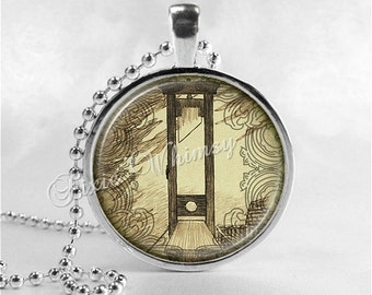 GUILLOTINE Pendant Necklace, Macabre, Halloween Necklace, France, French Revolution, Glass Photo Art Necklace, Gothic Jewelry, Execution