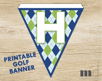 Golf Theme PRINTABLE Happy Birthday Party Bunting Banner or Flag