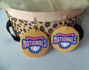 Washington Nationals Wood Earrings