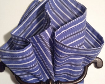 Cotton pocket square black, blue and white stripe.