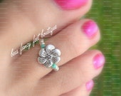 Toe Ring - Silver Metal Flower Stretch Bead Toe Ring