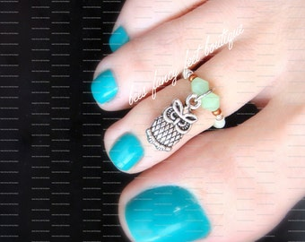 Toe Ring - Owl Charm - Stretch Bead Toe Ring