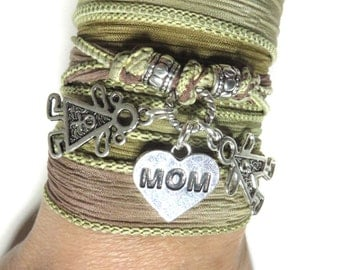 Yoga Mom Silk Wrap Bracelet Yoga jewelry Boy Girl Mother Ribbon Wrist Band Boho Chic Love Mom And Kids Wrap Mother's Day Unique Gift For Mom