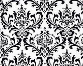 1 yard Premier Prints Ozborne White/ Black- Damask Fabric