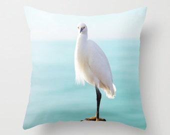 White Heron Pillow - Beach Pillow Case - Bird Pillow - Ocean Pillow Cover - Heron Pillow Case 16x16 18x18 20x20 Ocean Pillow Cover