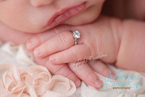Silver newborn ring newborn diamond ring newborn jewelry