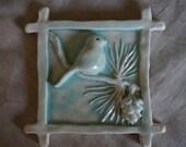 Chickadee and Pine Cone Ceramic Tile