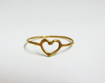 Gold heart ring, 14K solid gold ring, thin ring, handmade