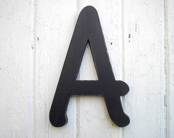 "Childrens Room Wall Art Big Wood Letter A 12"" Black Shabby Chic Distressed One Script LET Font"