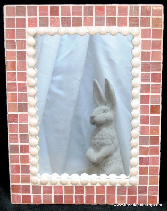 Blushing Bride Soft Pink and Ivory Mosaic Frame Wall Mirror MOF1001