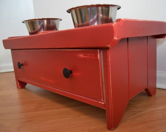 Raised Dog Bowl Stand w/DOVETAIL DRAWER---RED---Raised Dog Bowl Feeder, Raised Dog Bowl Holder, Raised Dog Stand, Dog Bowl Stand, Dovetail--