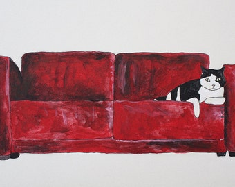 cat in a red sofa Etsy  illustration for the wall