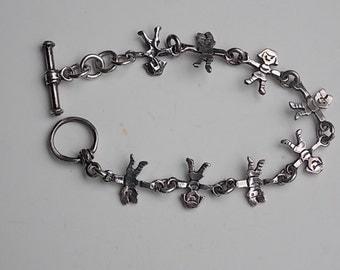 Vintage Little People Silver Tone Bracelet