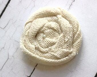 ADD ON Large White Burlap Flower