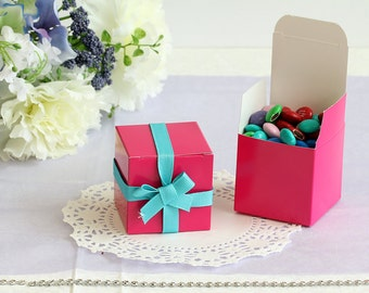 50x Hot Pink Wedding Favor Cube Boxes-Bridal Shower-Baby Shower-Party Favor-Candy Gift Box 2x2x2