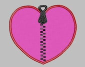 Zipper heart surgery healed Embroidery Applique Design 3 sizes Pattern in Machine Embroidery File Digital Download