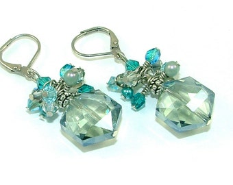 MAJOR MARKDOWN - Mystic Teal and Gray - Wire Wrapped Crystal Cluster Aqua Statement Earrings