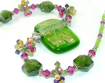 MAJOR MARKDOWN - Bright Flower Garden Wire Wrapped Crystal Clusters on a Beaded Dichroic Fused Glass Necklace - OOAK Statement Necklace