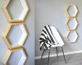 Large Geometric Shelf . Hexagon Shelf . Honeycomb Shelving . Modern Shelves . Handmade Shelf . Wood Pine Shelf