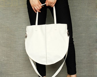 Soft White Hobo Leather Hobo Bag Zipp
