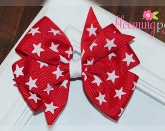 4th of July Red and White Star Large Pinwheel Bow