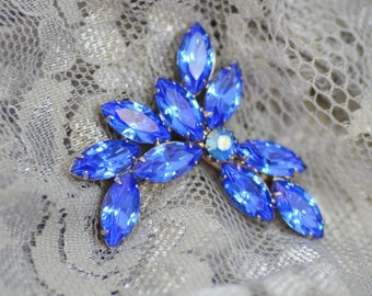 Bright Blue Rhinestone Brooch