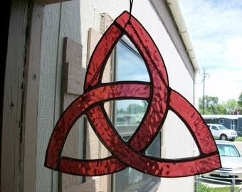 Cranberry Stained Glass Celtic Knot/Triquetra
