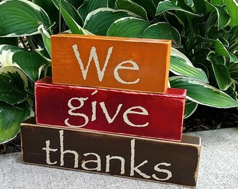 Thanksgiving Fall Autumn Decor - Wood Stacked Blocks - Orange Red Burgundy Brown We Give Thanks