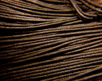 10M 0.7mm OR 1.5mm COCONUT Brown Waxed Cotton Cord, Rich Brown, Vegan jewelry Cord, macrame cord, Bracelet cord, Cord