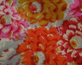 Vintage 1950s Floral Bouquet Silk Square Scarf, Made in Japan