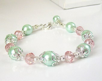 Pastel Wedding Pearl Bracelet, Mint Green with Pale Pink Bridesmaid Jewellery, Mint Wedding, Bridal Party Gifts, Pale Pink and Green Jewelry