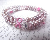 Pink Freshwater Pearl Breast Cancer Awareness Bracelet- Memory Wire