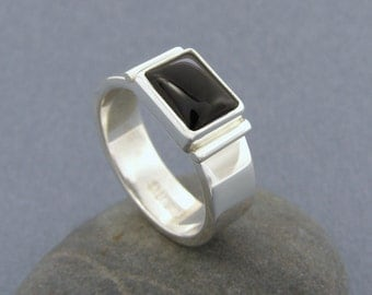 Men's Sterling Silver and Black Onyx Ring ~ Rugged ~ Hand Wrought